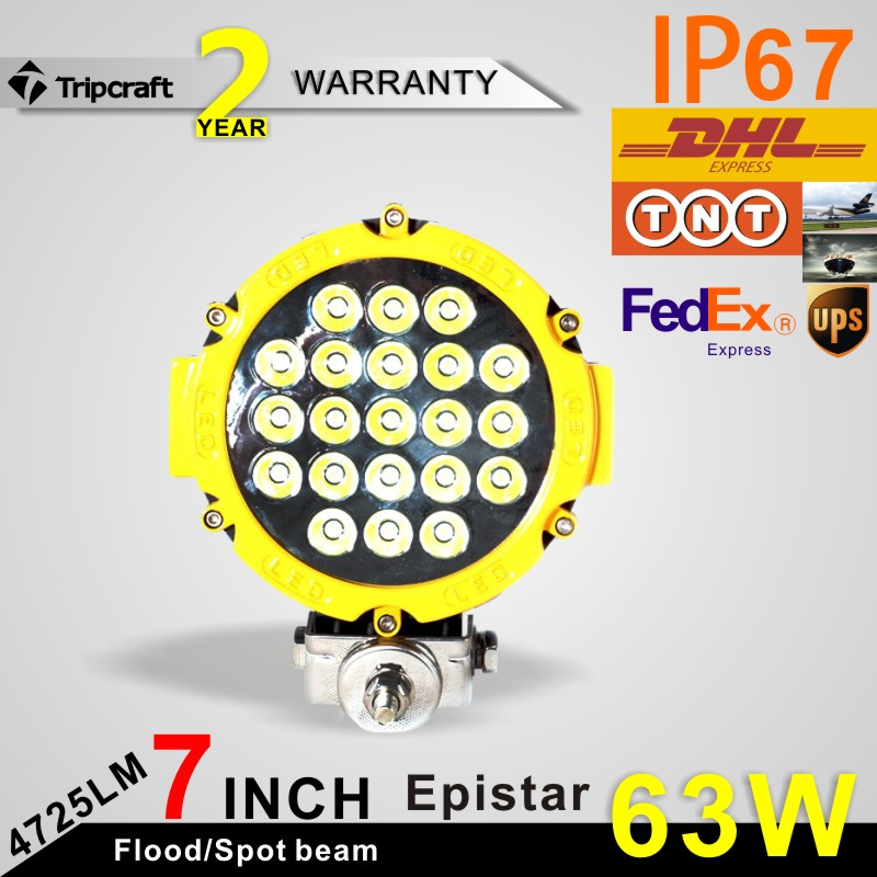 Led driving light 63w 7inch led off road light or SUV,ATV,UTV use 4725LM Yellow color