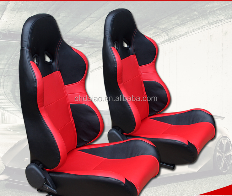 Full RECLINABLE Style Racing Seats Red for Drag Track Circuit Drifting