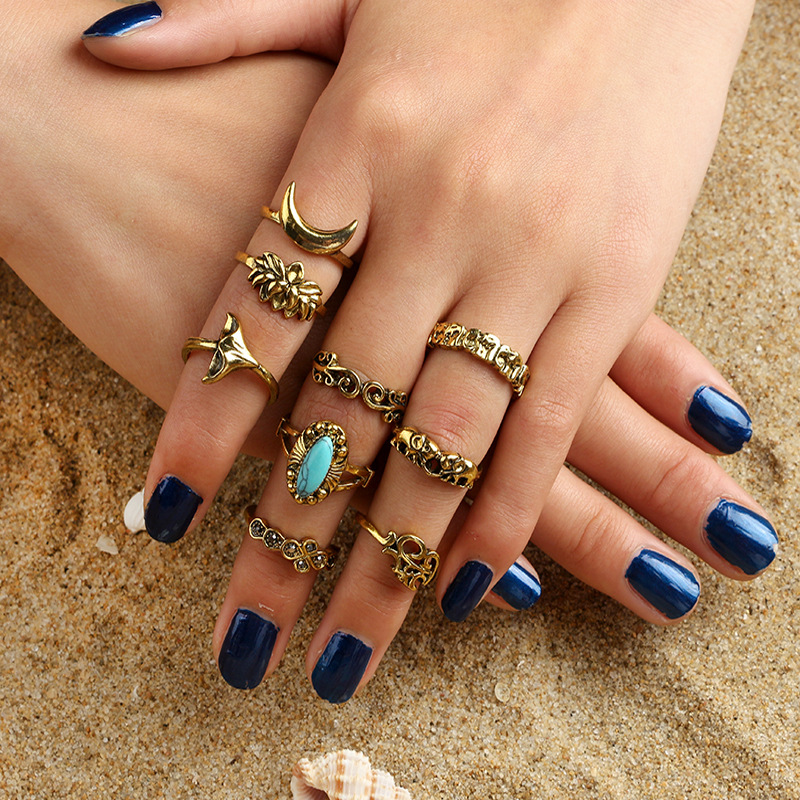 Bohemia Crystal Ring Sets Ethnic Gothic Knuckle Animal Ring Set Boho Elephant Flower Finger Ring Knuckle Charm anillos