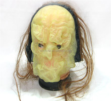 Halloween ugly translucent face alien masks with long hair