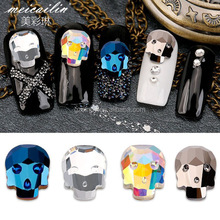 Crystal Skull Head Design Nail Trends Charms Rhinestones For Nails