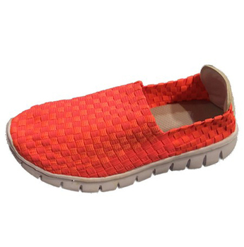 Girls Orange Woven Elastic Upper Sneakers 13-5 Kids