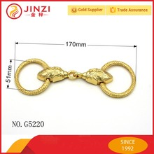 Shiny real gold color bag fitting metal handle