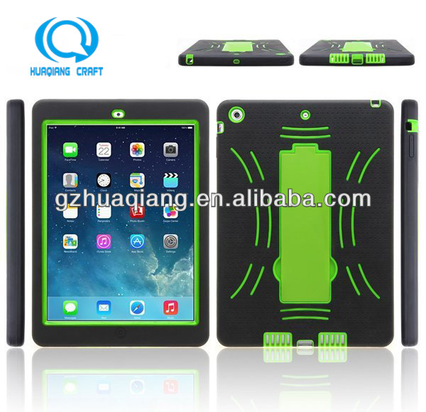 2014new case with kickstand pc+silicone case for ipad air/5,Guanghzou manufactory