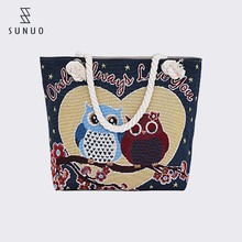 Cute Owl Printing Customised Embroidered Cotton Beach Bags