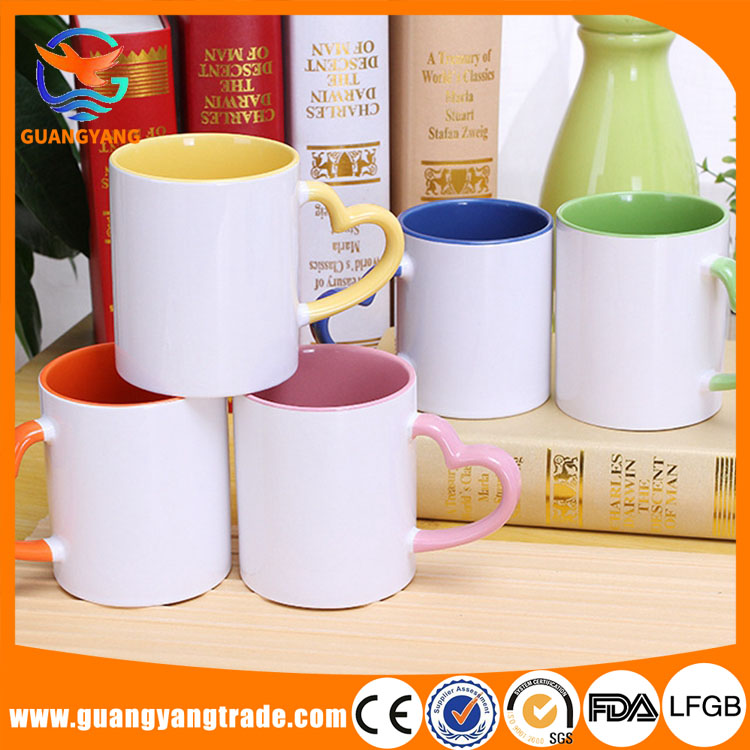 zibo New heart shaped handle ceramic coffee coated mug white for sublimation for 2017 Valentine's day