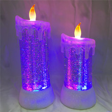 Battery Operated Led Light Acrylic Water Swirling Glitter Liquid Candle