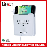 LA 5SA ETL CETL 3 outlets Surge protected Adapter with 2 USB charging ports Current Tap can put phone on the top