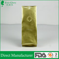 Custom print aluminum foil golden coffee bean packing bags with air valve