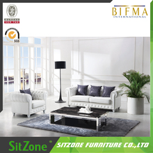 Living Room Furniture White Leather Wood Frame Sofa Set S25