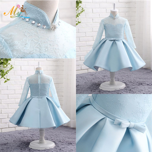 New autumn children wedding long - sleeved lace baby girl kids pretty princess casual dress