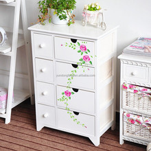 Small Chinese characteristic white hand painted solid wood storage drawer cabinet