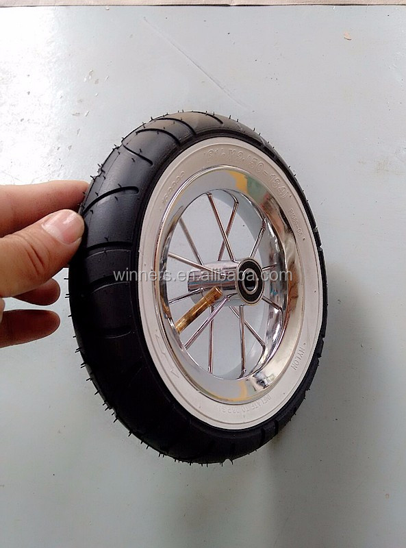 8x2 inch pneumatic wheel with white wall
