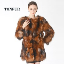 Ladies Latest High Quality Fox Fur Real Fur Parka Coat for Women Sale Overcoat