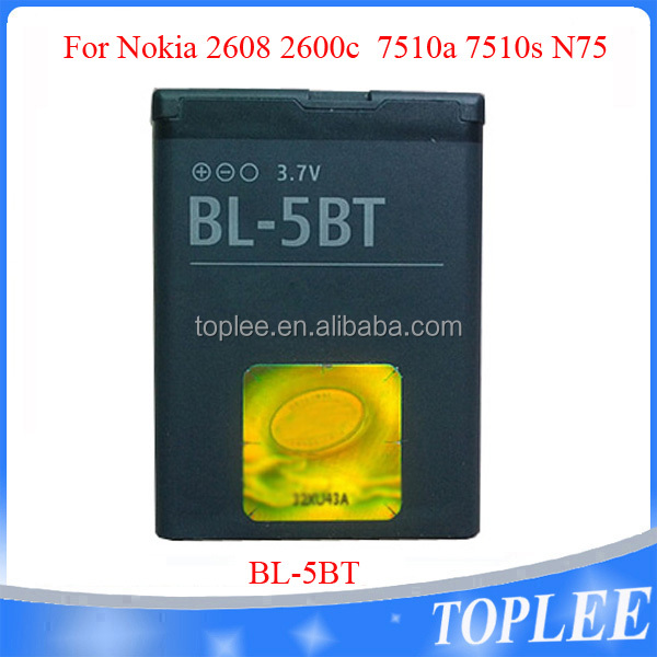 High Quality Lithium Battery 3.7v 870mAh BL-5BT battery For Nokia N75 2600 CLASSIC 7510S 2600C 7510