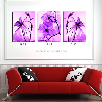 3 Piece Living Room Decoration Modern Art Paintings Purple Flower Popular Printed Canvas