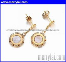 Wholesale 2012 new fashion design 18K yellow gold drop earring insert clear diamonds exquisite (ML-12-YO1023-003)