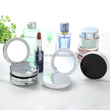 Handheld LED makeup mirror folding portable vanity mirror with powerbank charger pocket make up mirror