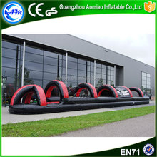Customize black n red inflatable water slide,inflatable belly slide with arch