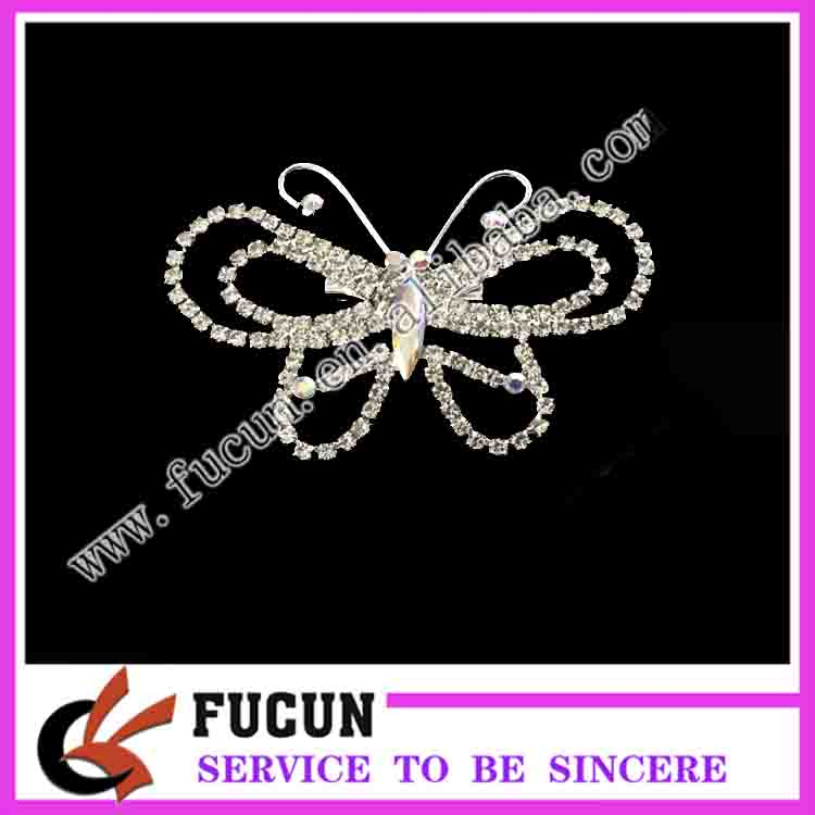 fashion jewelry metal alloyed butterfly style rhinestone crystal brooch