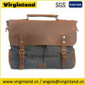 "6807 High Quality Men's Vintage Dark Grey Canvas and Leather Casual Business Messenger Bag fit 14"" Netbook"