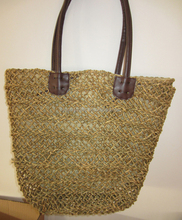 HANDICRAFT SEAGRASS BAG WITH LEATHER HANDLE