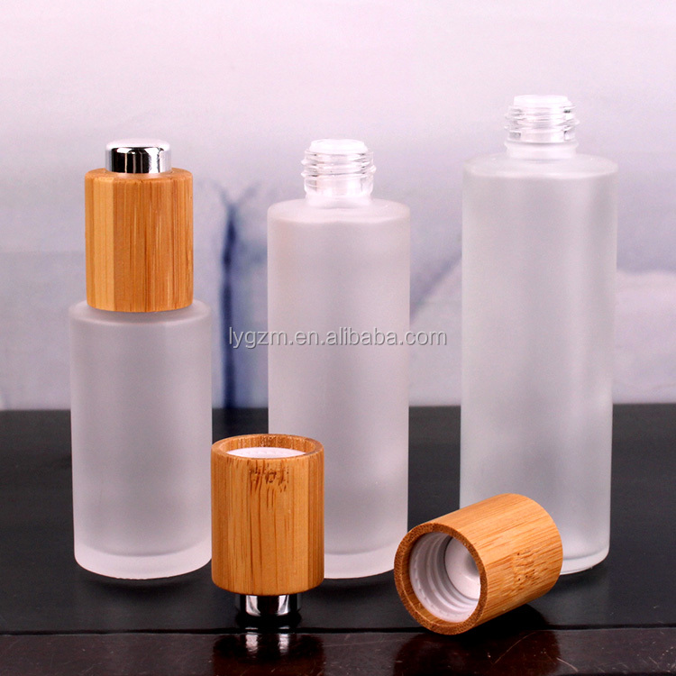 frosted cosmetic glass bottle with screw cap for Skin Care Cream glass jars