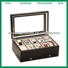 High quality 10 grid solid wood watch box display show case with top visiable customize available big watch suitable
