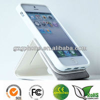 PU &TPU flip leather pouch case cover for iphone 5 case