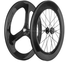 700C 12K carbon road bike wheelset Front 70mm Tri Spokes Rear 88mm Track Wheels carbon fiber wheel for road bke TT bike fixgear