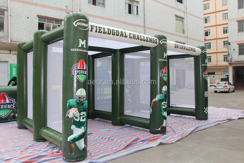 Green PVC tarpaulin inflatable football field goal /Soccer Inflatable Game/inflatable football target for sale