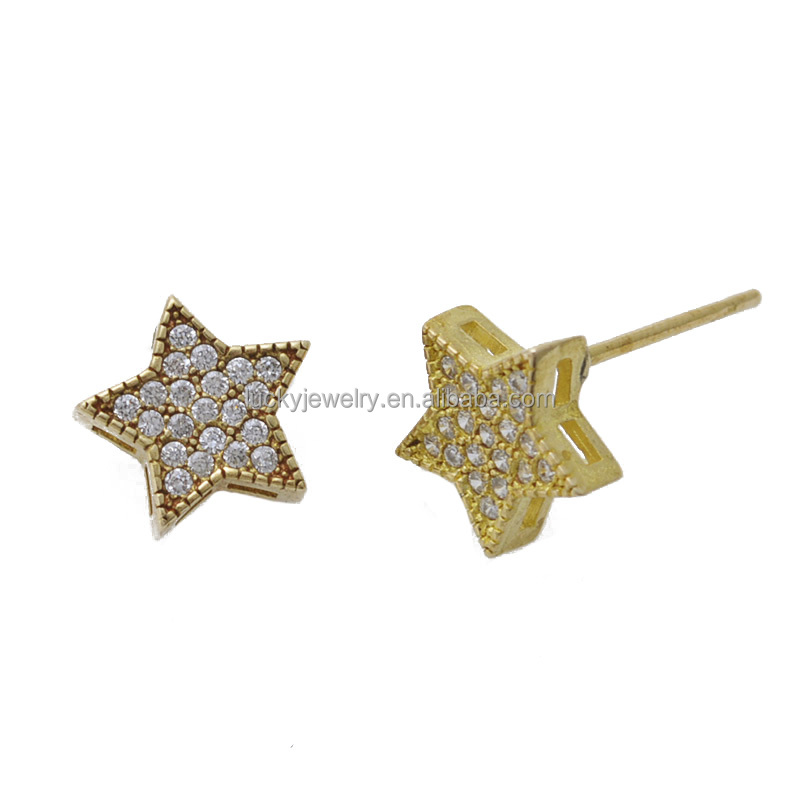 Classical Jewelry Earrings Accessories Findings Star Shape Brass Material Stud Earrings for Jewelry Making
