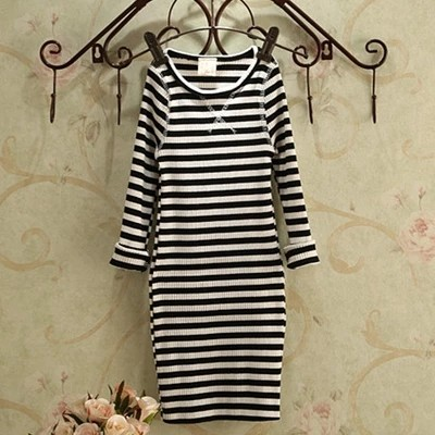 2016 European and American fashion cotton long-sleeved striped baby dress girls