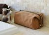 Waxed canvas toiletry bag/dopp kit in waxed/travel shave bag for men