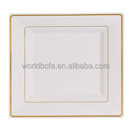 White Square Dinner Plates Salad Heavy Duty gold Rim Plate
