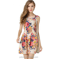 2015 New Limited Promotion Women Print Casual Dress Round-Neck Sleeveless Floral Mini Dress