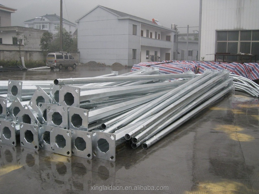 hs code hot dip galvanized steel pipe galvanized steel tapered power pole garden lamp post