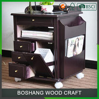 Dark Coffe Color Movable Office Furniture Filing Cabinet