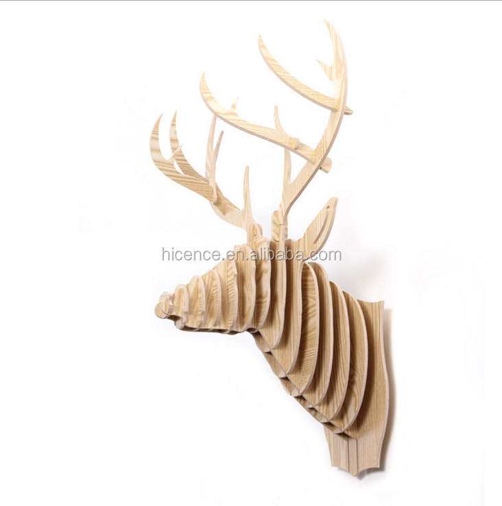 Original wood deer head avatar for wall decoration