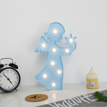 Warm White Color 9 LED Decoration 3D Angel Shaped Light Battery Fairy Marquee Night Wall Lights