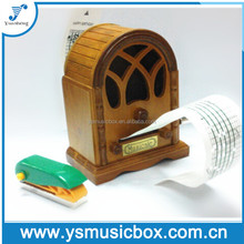Wooden hand cranked music box paper stripe music box with custom music