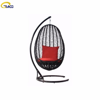 Popular quality round plastic rattan outdoor swing chair