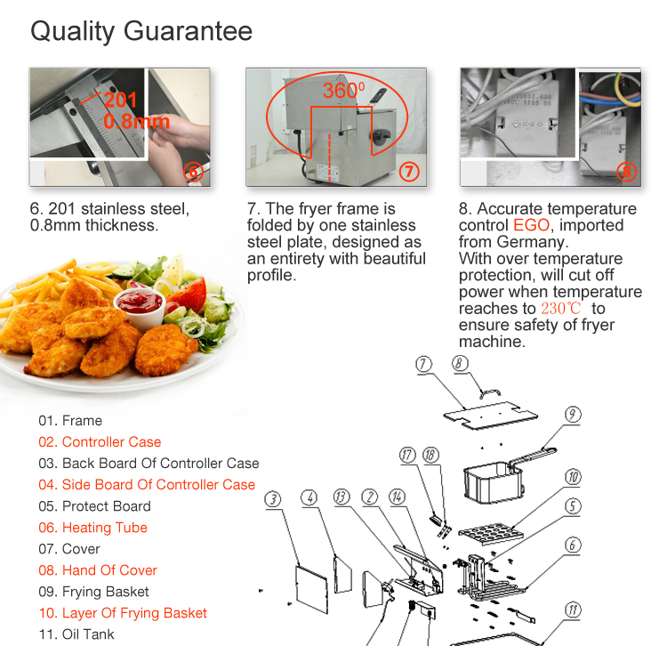 FSEFR-0504A Counter Top 2 Tank 2 Basket Deep Electric Chips Fryer