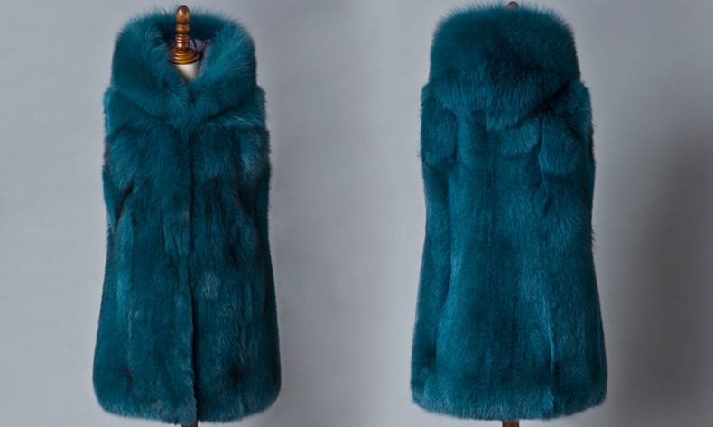 Top Quality OEM Hooded Women Fox Fur Vest Coat