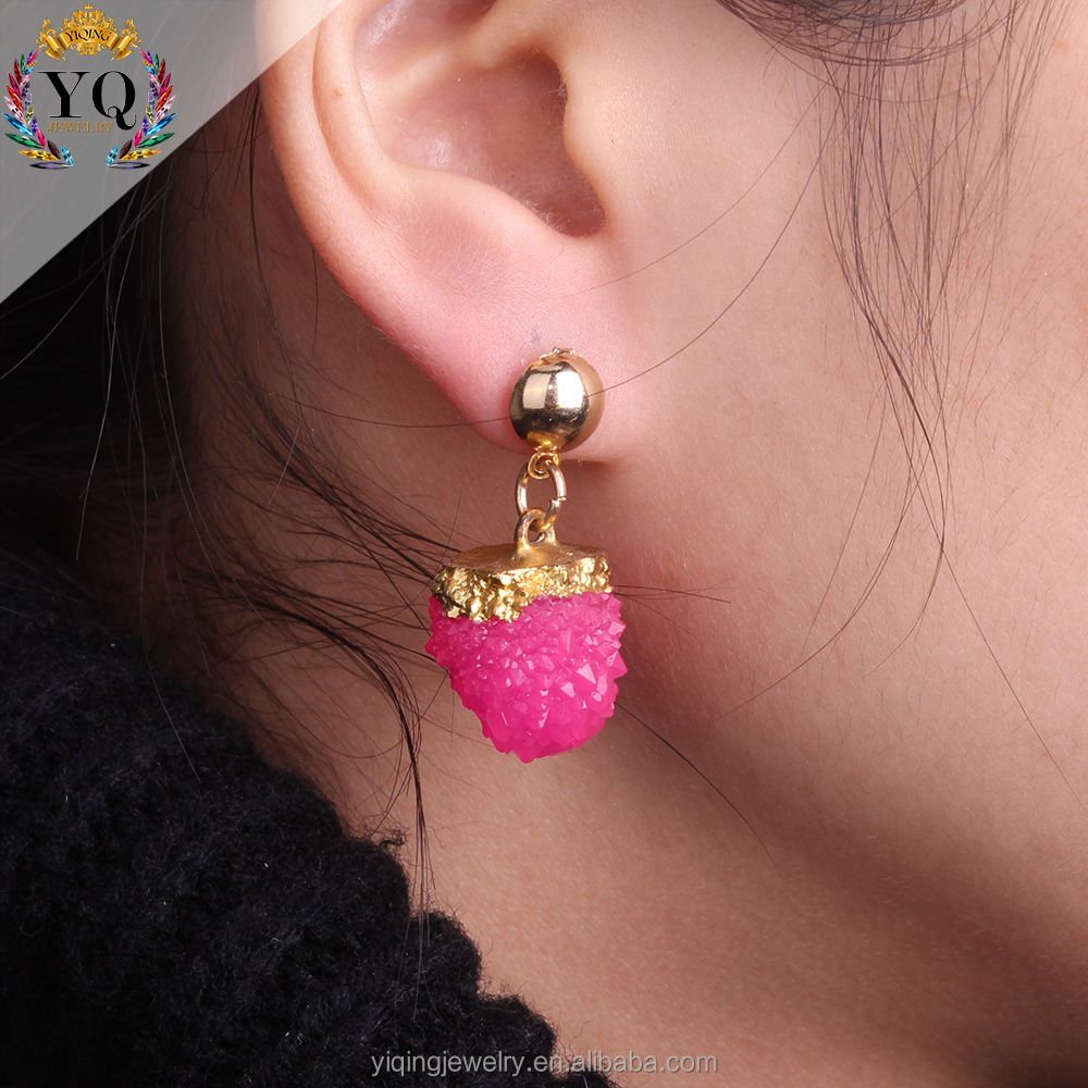 EYQ-00256 Hot bright-colored daily women fashion natural stone korean style earrings