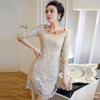 WAT1394 2016 high-end lady lace dress beads fashion dress for women
