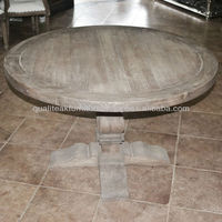 Antique French Country Distress Rustic Teak Dining Table Round