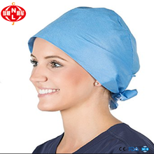 China factory hot sale disposable nurse cap with tie doctor surgeon cap