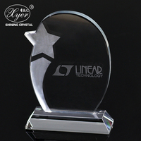 Hot saling k9 blank crystal glass cube trophy award unique gift ideas with stars
