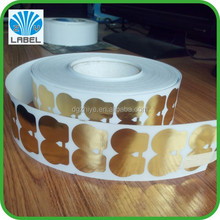 Direct manufacture Golden Aluminum Foil Paper Material Adhesive Cake Label, Custom Food Stickers